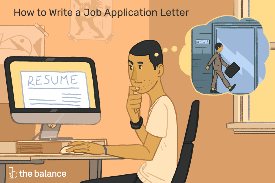 "Man sitting at his desk, only text is the title, which reads ""How to Write a Job Application Letter"""