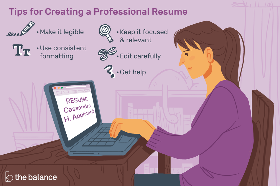 "Image shows a woman at her computer typing up a resume. Text reads: ""Tips for creating a professional resume: make it legible, use consistent formatting, keep it focused and relevant, edit carefully, get help"""