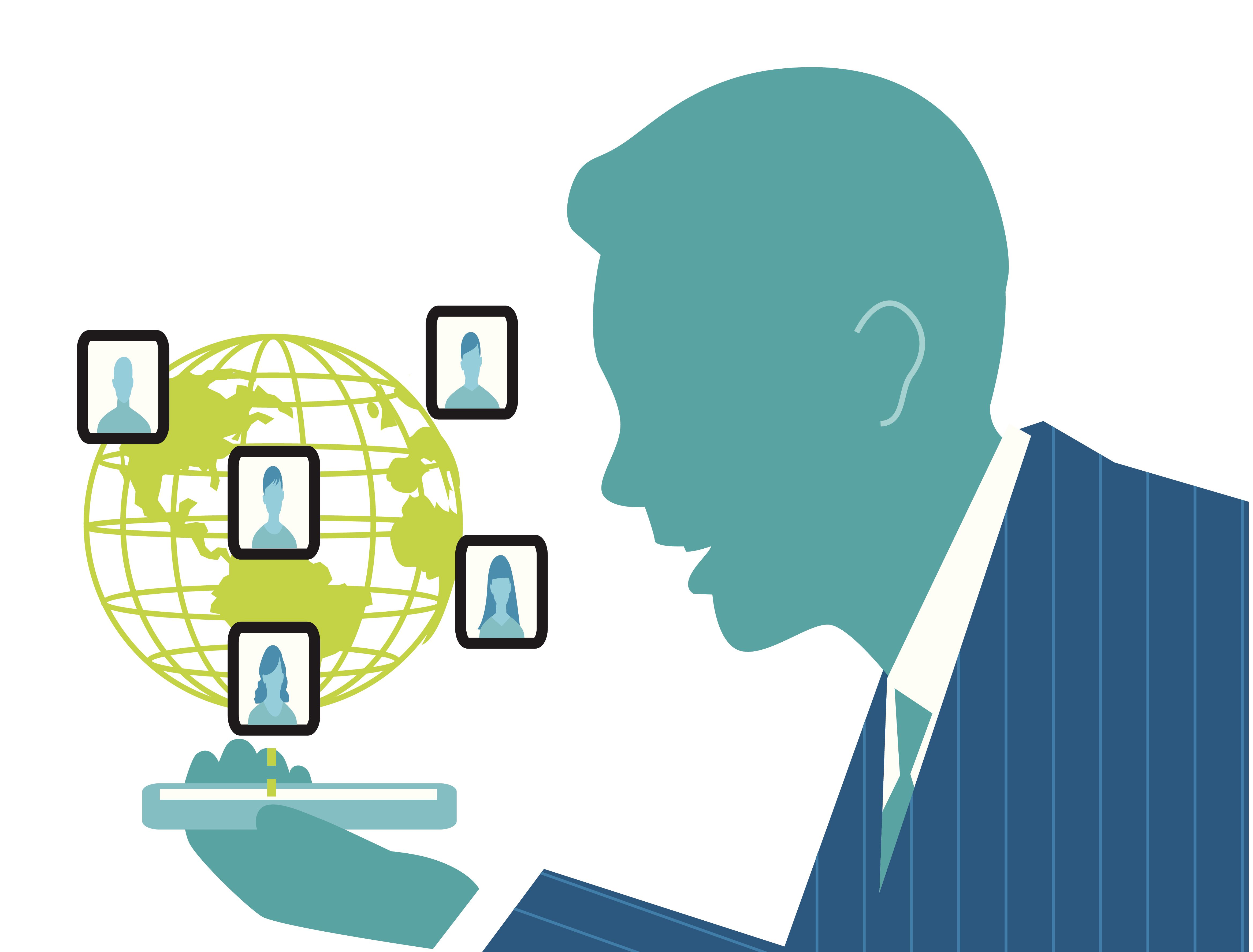 Businessman talking on a cell phone to international co-workers shown on a globe.