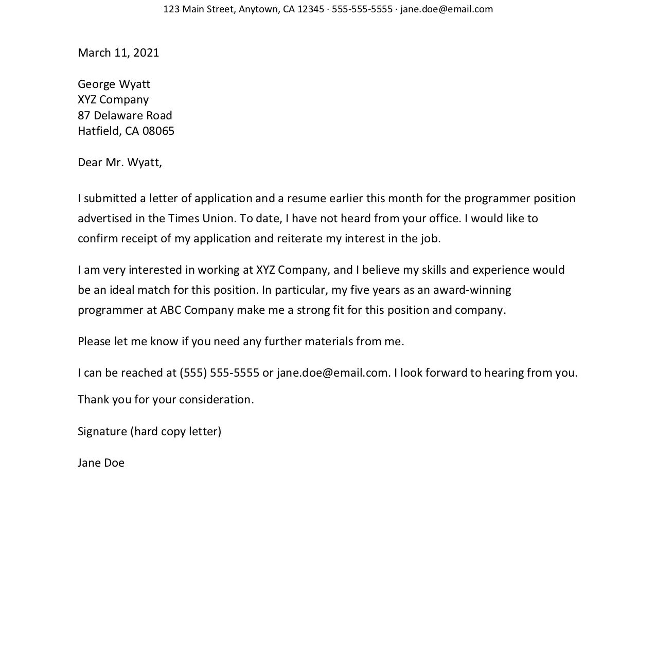 free resume follow up letter