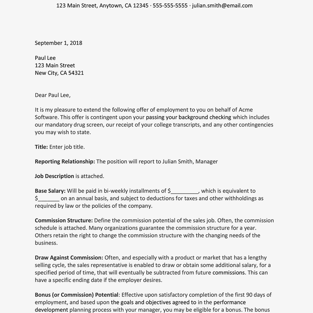 Sales Representative Job Offer Letter Sample