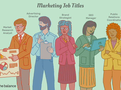 This illustration shows marketing job titles including