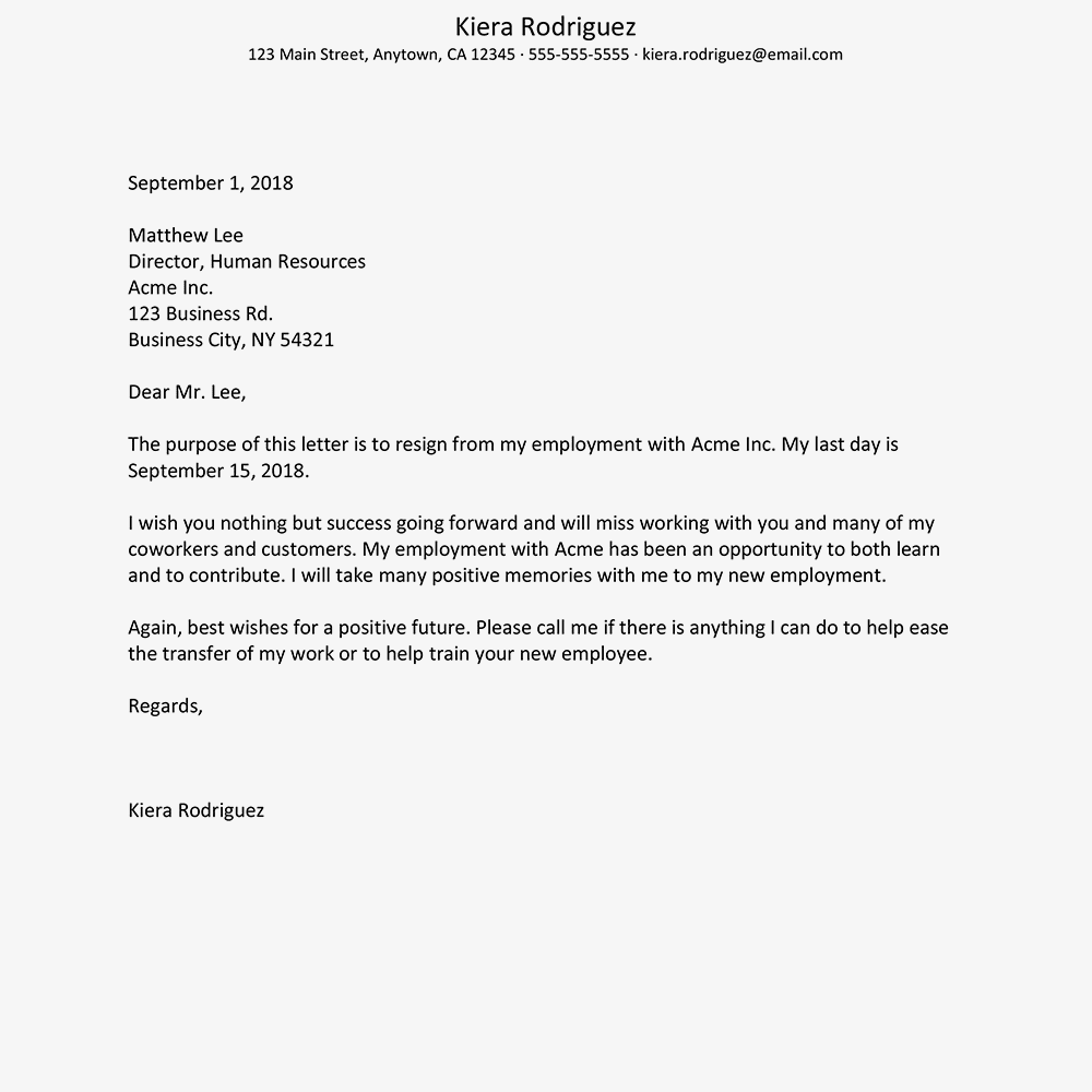 screenshot of a sample resignation letter