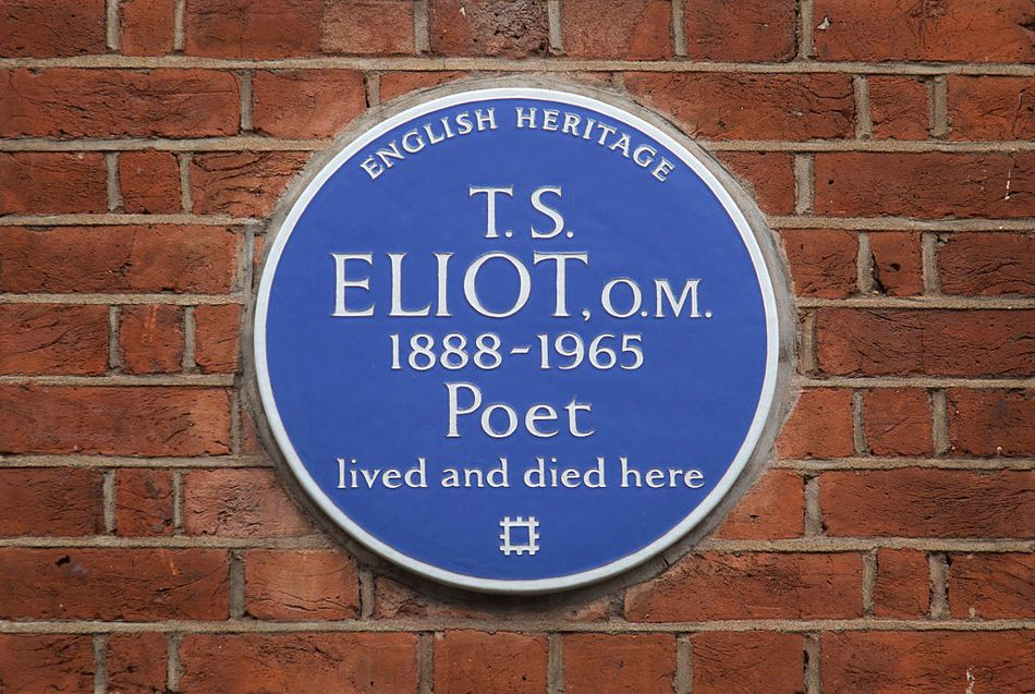 Blue plaque to poet T. S. Eliot in London