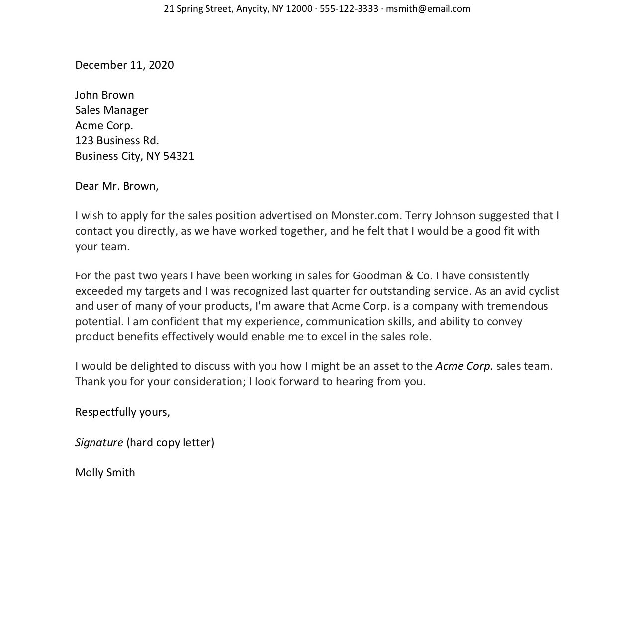How To Format A Cover Letter With Examples