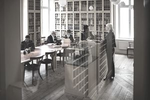 Librarian and lawyers in law library
