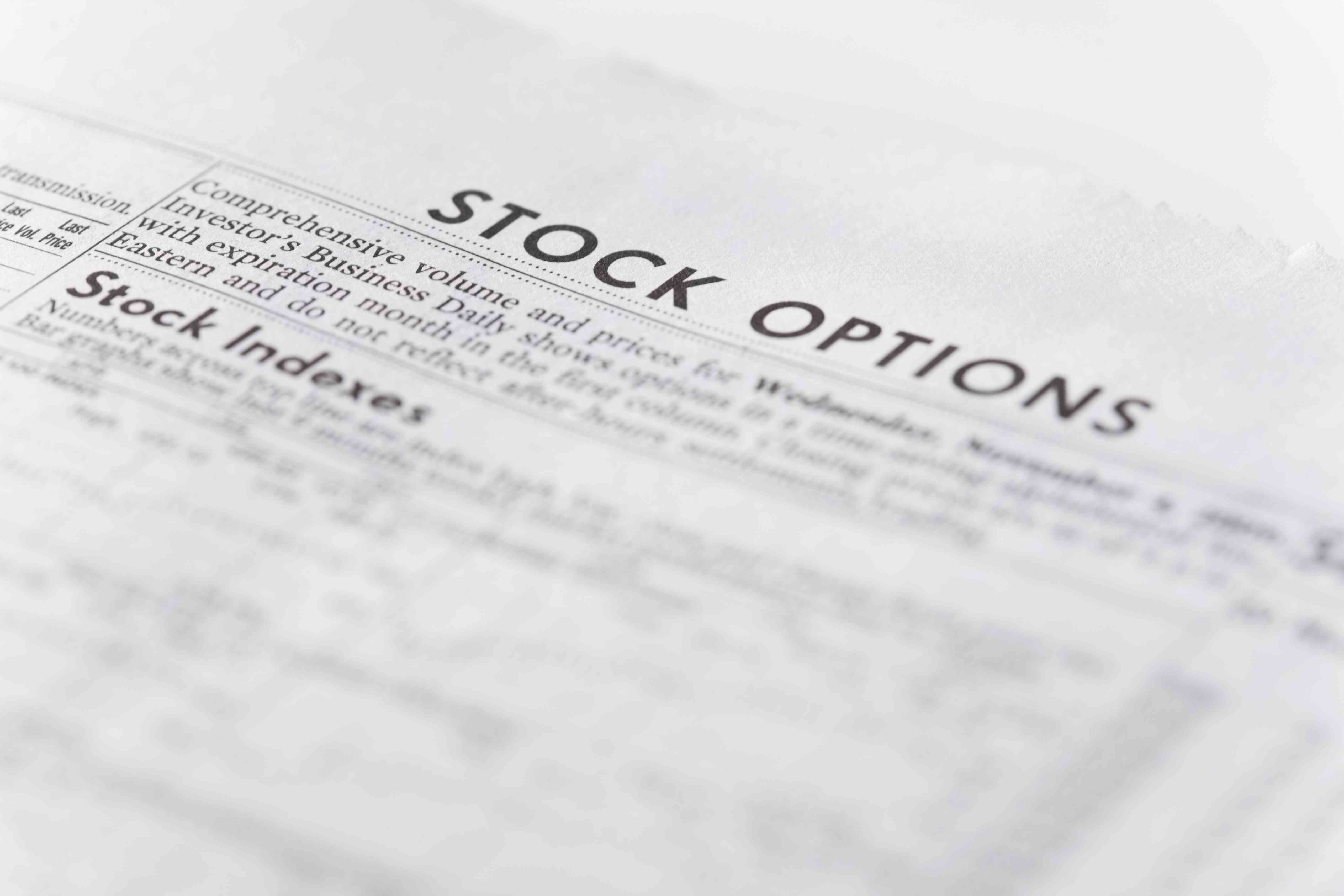 Paper showing stock options