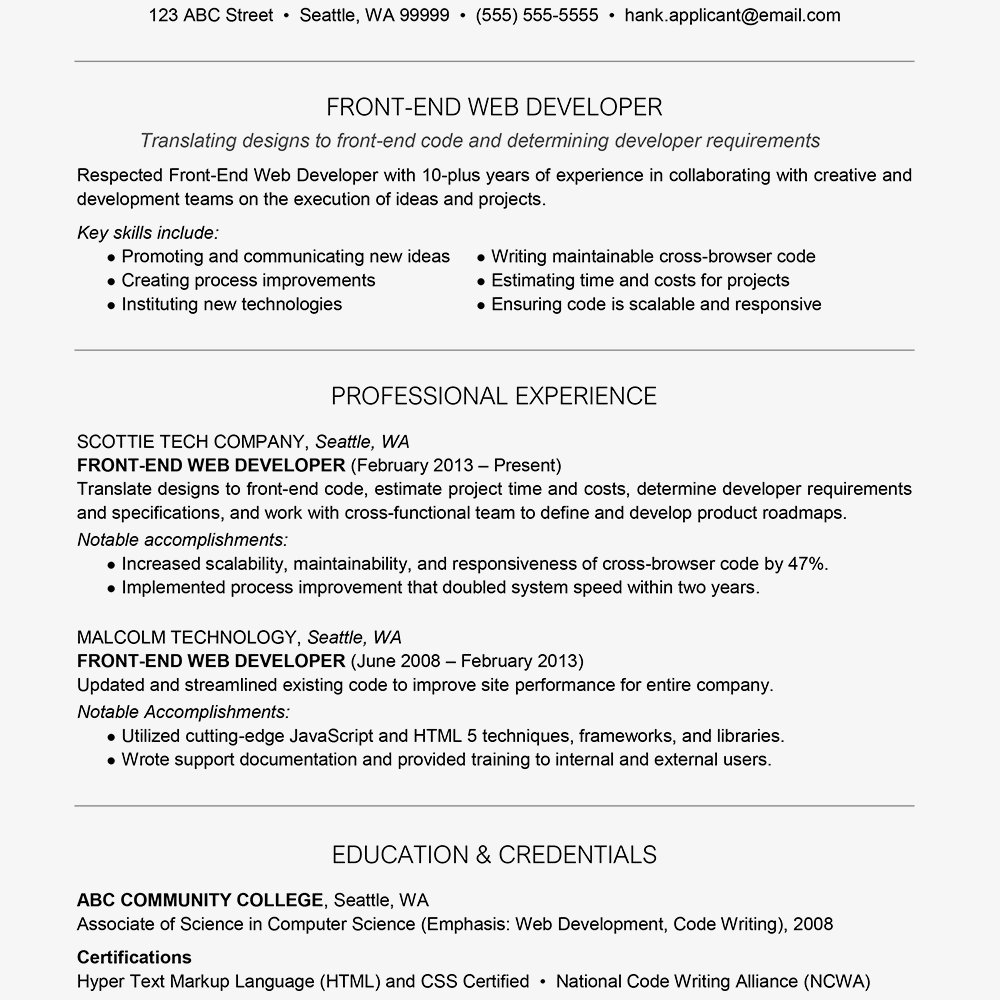 Front-End Web Developer Cover Letter and Resume Examples