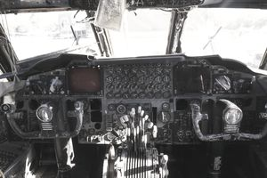 Cockpit interior of a Boeing B-52G Stratofortress (B-52) bomber