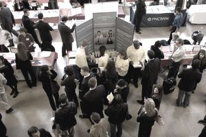Top view of Rutgers University Career Fair showing students and recruiters