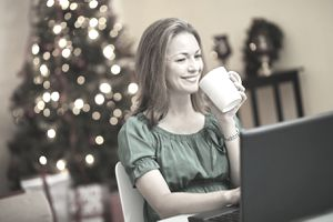 A woman at work over the holidays