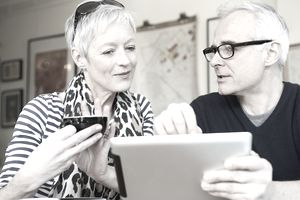 Older couple looking at a tablet