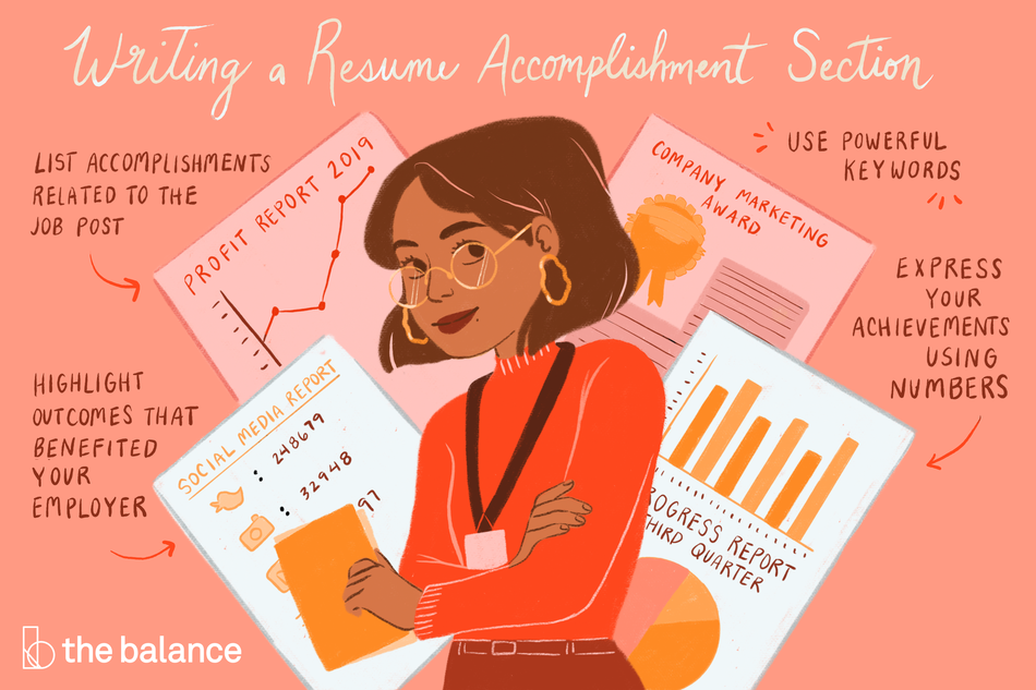 "This illustration describes writing a resume accomplishment section including ""List accomplishments related to the job post,"" ""Use powerful keywords,"" ""Highlight outcomes that benefited your employer,"" and ""Express your achievements using numbers."""