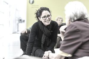 Social worker and client in a home for seniors