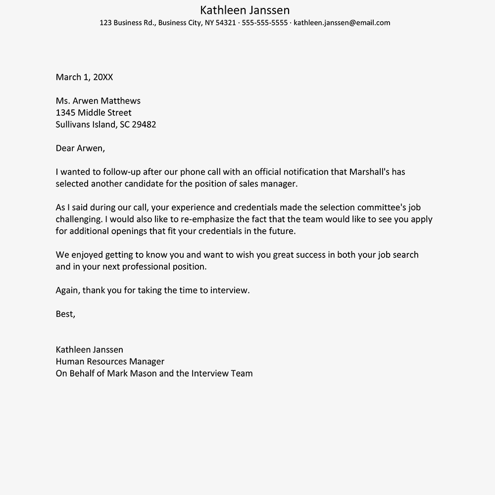 screenshot of a job rejection letter sample