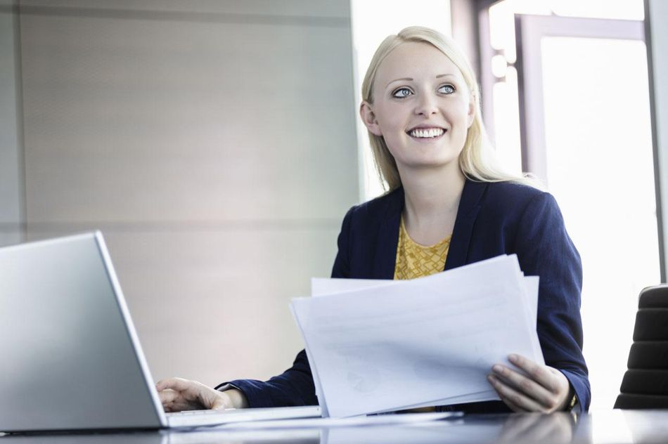 Business woman using notebook
