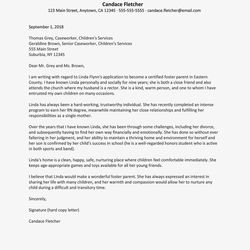 A Sample Reference Letter For Foster Parenting