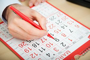 Calendar With Red Pen