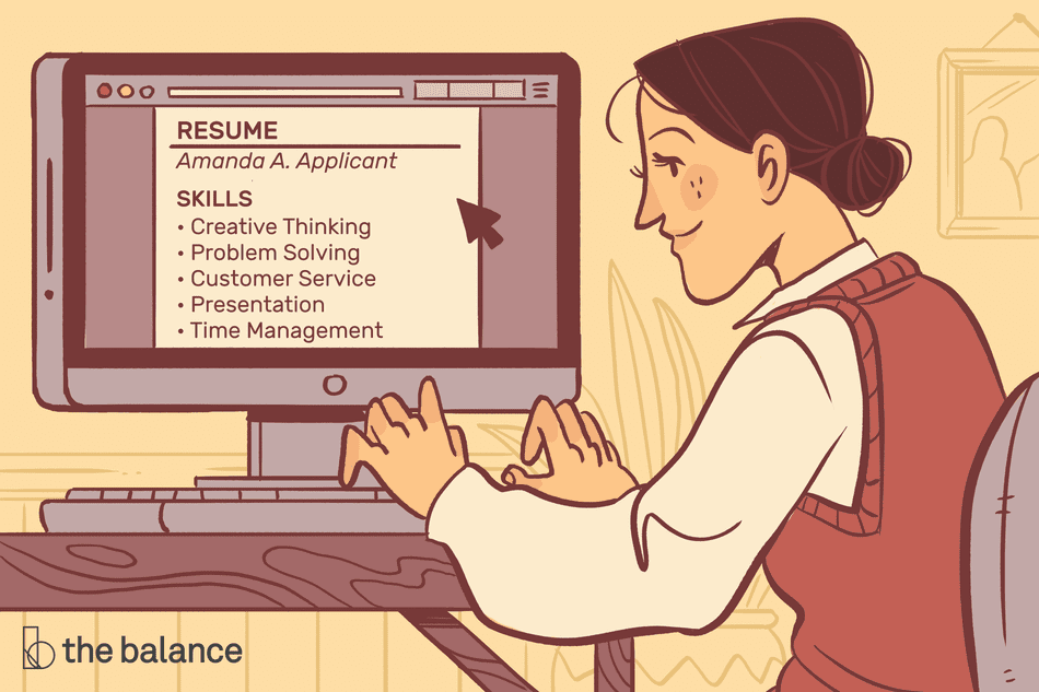 Image shows a woman typing at her computer. On the screen is a resume. The resume reads: