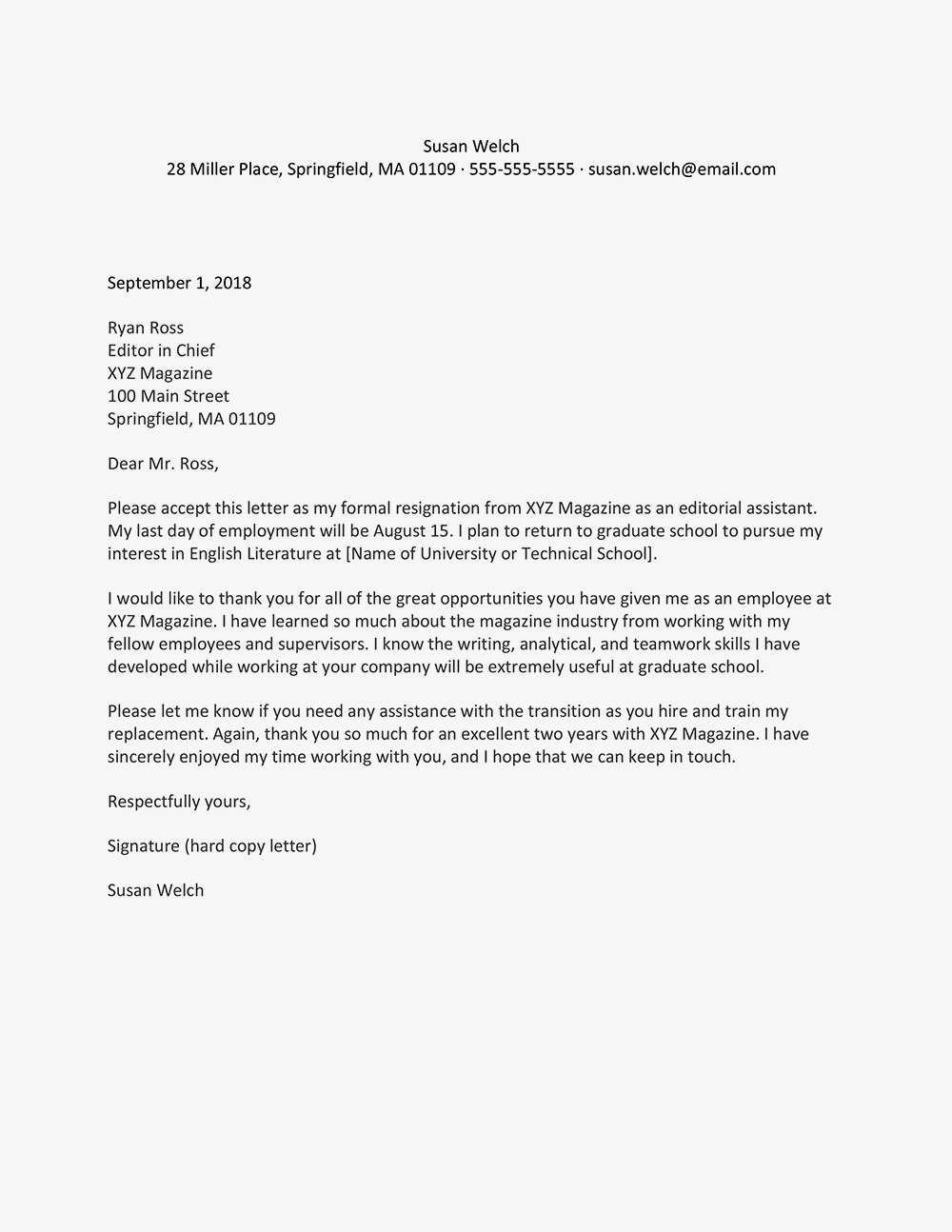 Screenshot of a going back to school resignation letter example