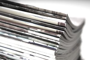 Side view of a stack of magazines