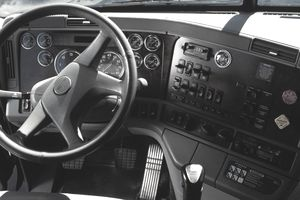 Gauges And Instruments On A Semi Truck S Dashboard