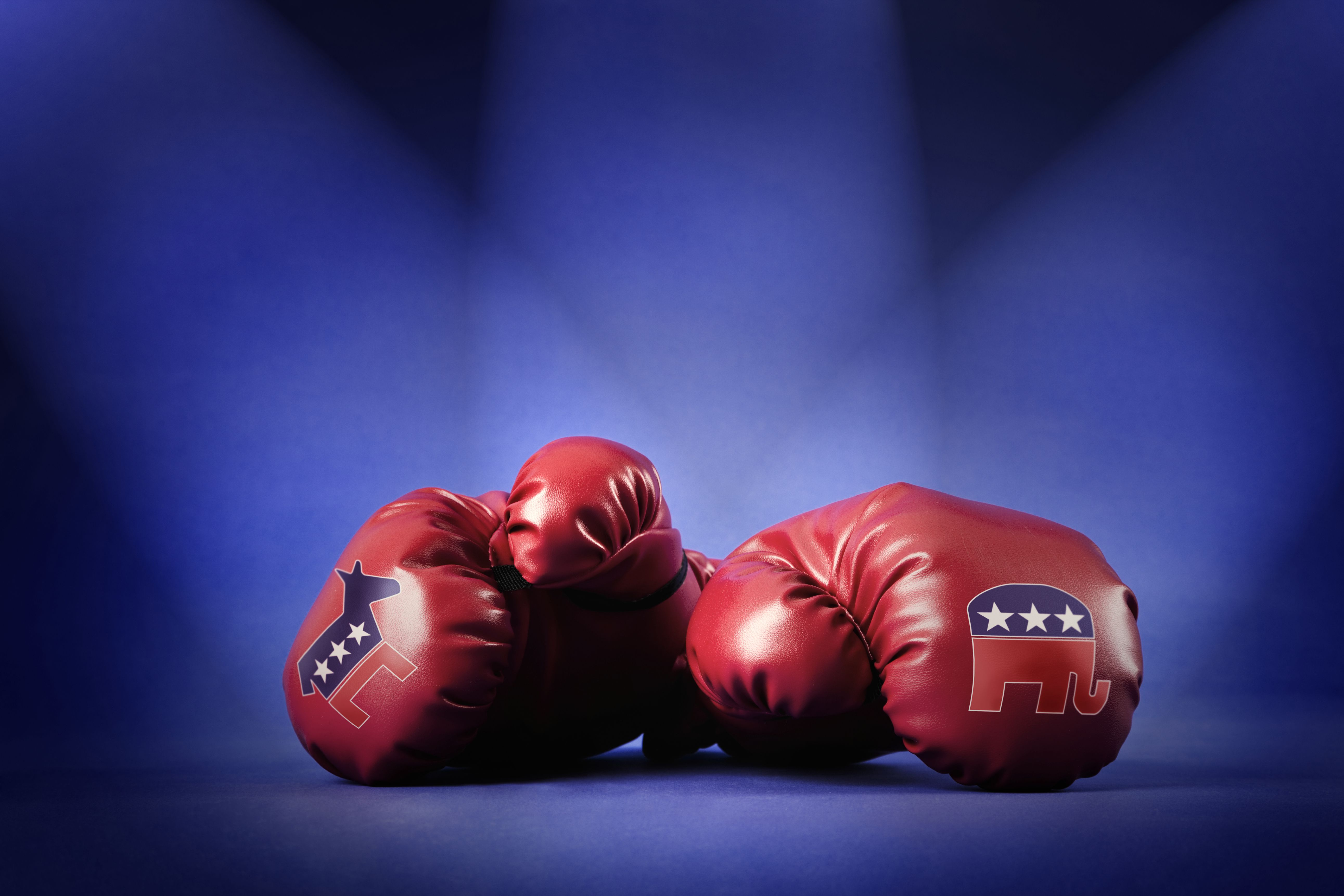 Democratic and Republican Party Symbols on Boxing Gloves