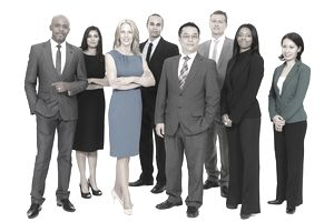 A multicultural group of business people wear business formal attire for work.
