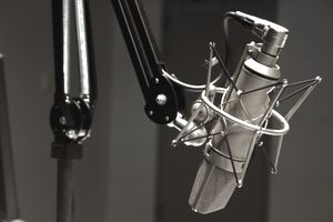 Close up of a microphone in a radio station