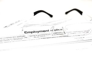 Glasses and an employment application