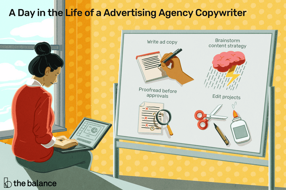 A day in the life of an advertising agency copywriter: Write ad copy, brainstorm content strategy, proofread before approvals, edit projects