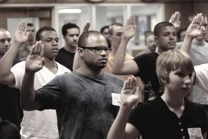 Fresh Recruits Take Oath Of Enlistment to Join the US Navy