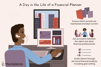 A day in the life of a financial planner: Ensure client records are maintained and kept current, Act as a liaison between the client and other financial professionals, Guide clients through personal financial analysis, including goal setting