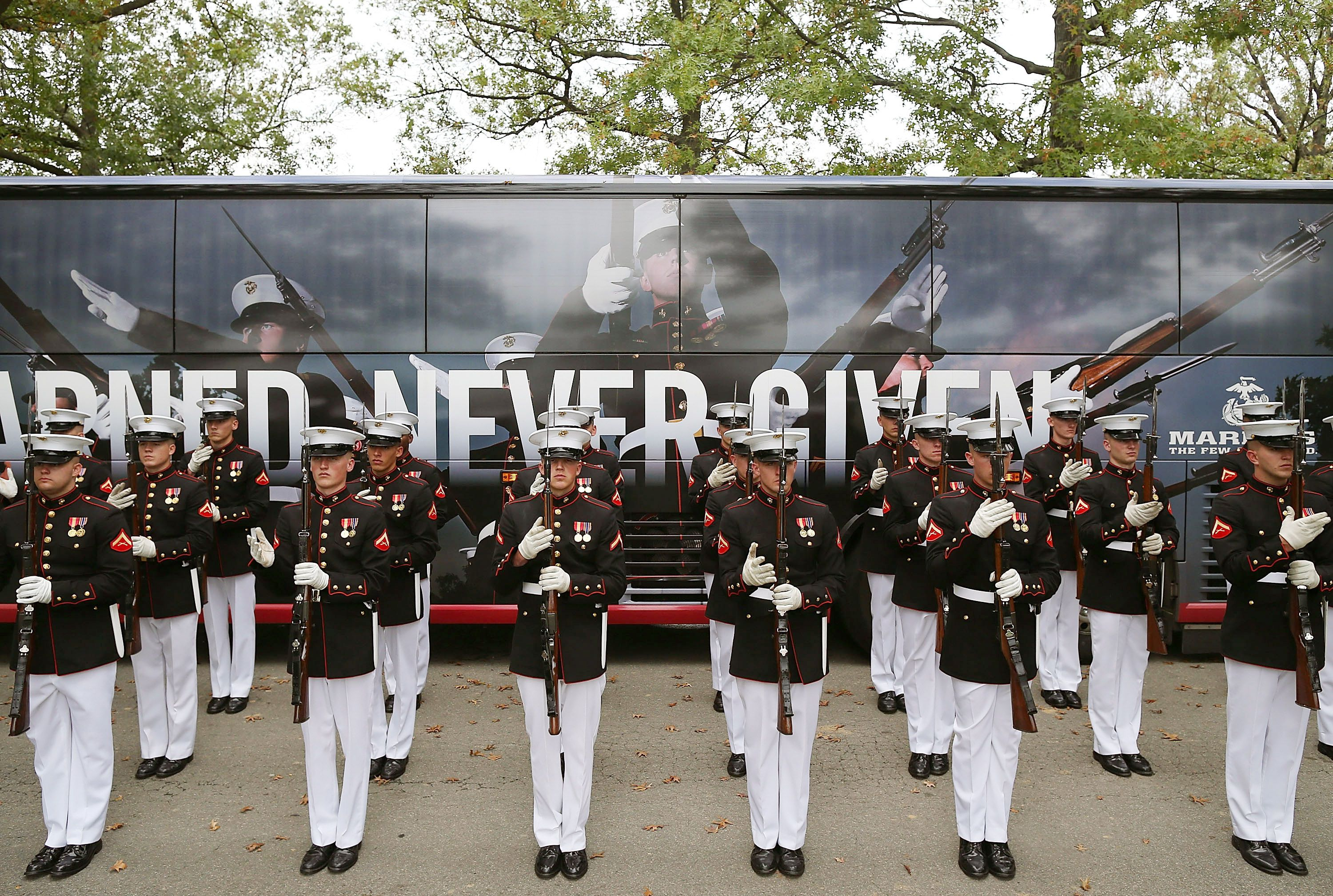 Burial Service For 7 Marines Killed During WWII Held At Arlington Cemetery