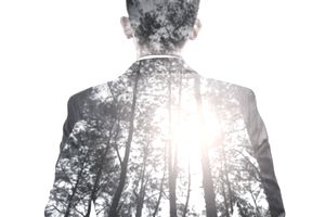 Image of a suited businessman's back, with a forest at sunrise overlay, symbolizing nature, environment and business.