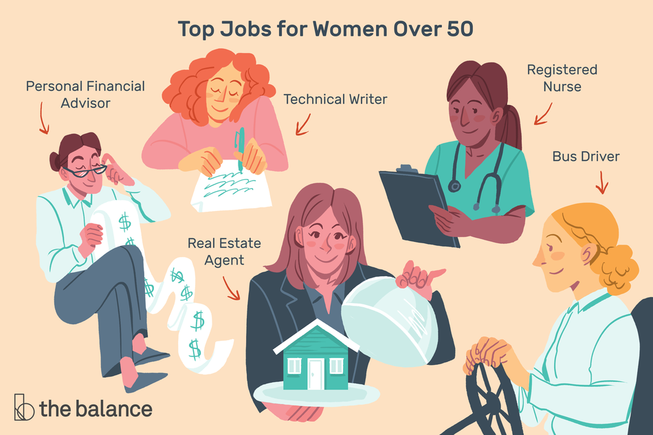 "Image shows five women working the following roles: personal financial advisor, technical writer; real estate agent; registered nurse; bus driver. Text reads: ""Top jobs for women over 50"""