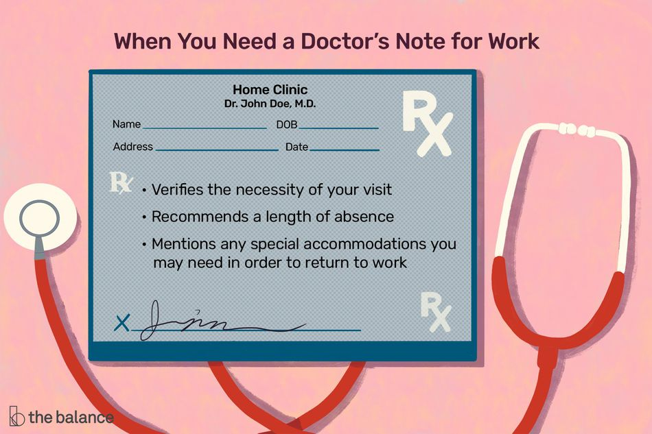 """This illustration describes When You Need a Doctor's Note for Work and includes """"Verifies the necessity of your visit,"""" """"Recommends a length of absence,"""" and """"Mentions any special accommodations you may need in order to return to work."""""""