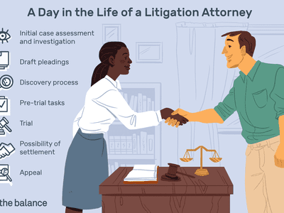 Image shows a man and woman shaking hands over a desk that holds a gavel, a scale, and an open book. Text reads: