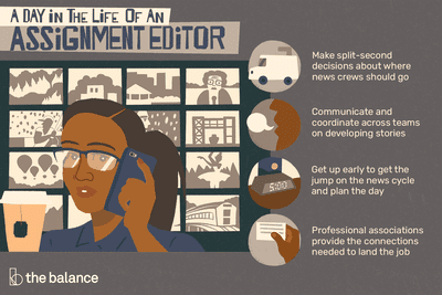 A day in the life of an assignment editor: Make split-second decisions about where news crews should go, communicate and coordinate across teams on developing stories, get up early to get the jump on the news cycle and plan the day, professional associations provide the connections needed to land the job