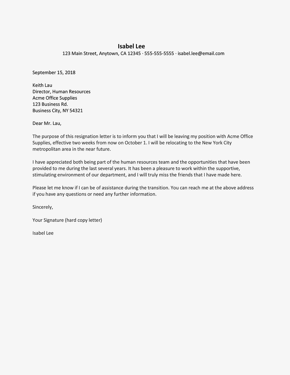 Resignation Letter Due To Relocation Examples