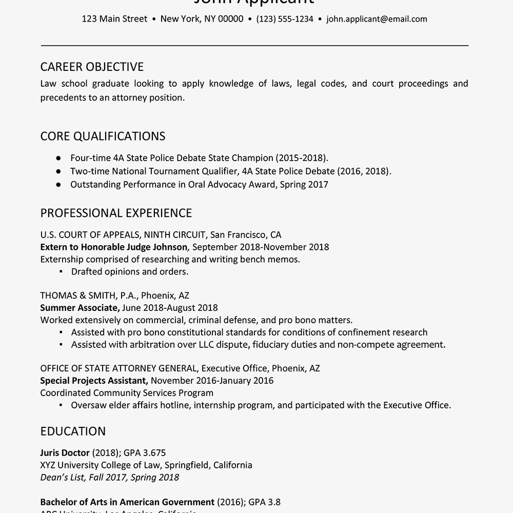 Law school admission resume