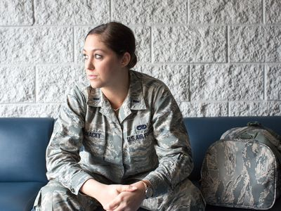 Air Force cadet on bench