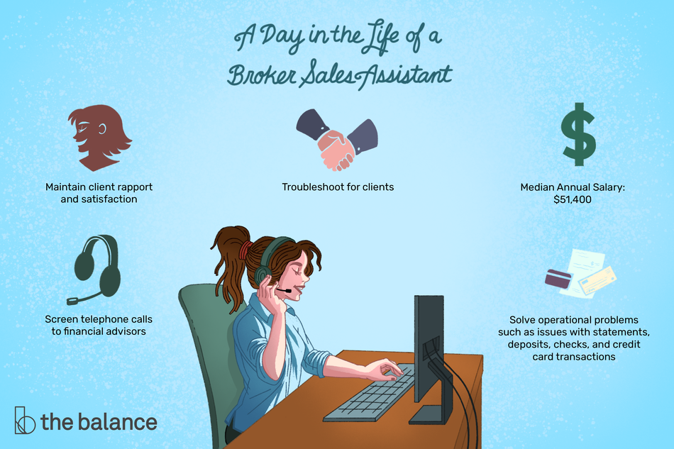 "This illustration describes a day in the life of a broker sales assistant including ""Maintain client rapport and satisfaction,"" ""Troubleshoot for clients,"" ""Median annual salary: $51,400,"" ""Screen telephone calls to financial advisors,"" and ""Solve operational problems such as issues with statements, deposits, checks, and credit card transactions."""
