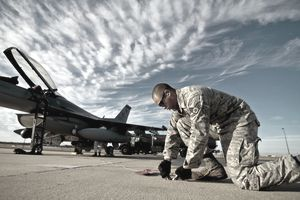 Safety specialist working on an Air Force runway.