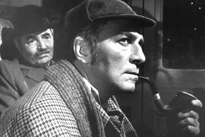Christopher Plummer (right), as Sherlock Holmes, and James Mason as Dr Watson in 'Murder By Decree', directed by Bob Clark, 1979