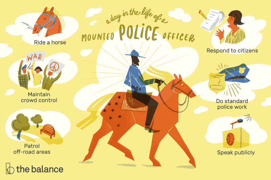 """Image shows an officer on a horse riding against a cloudy sky backdrop. Text reads: """"A day in the life of a mounted police officer: Ride a horse, maintain crowd control, patrol off-road areas, respond to citizens, do standard police work, speak publicly."""""""