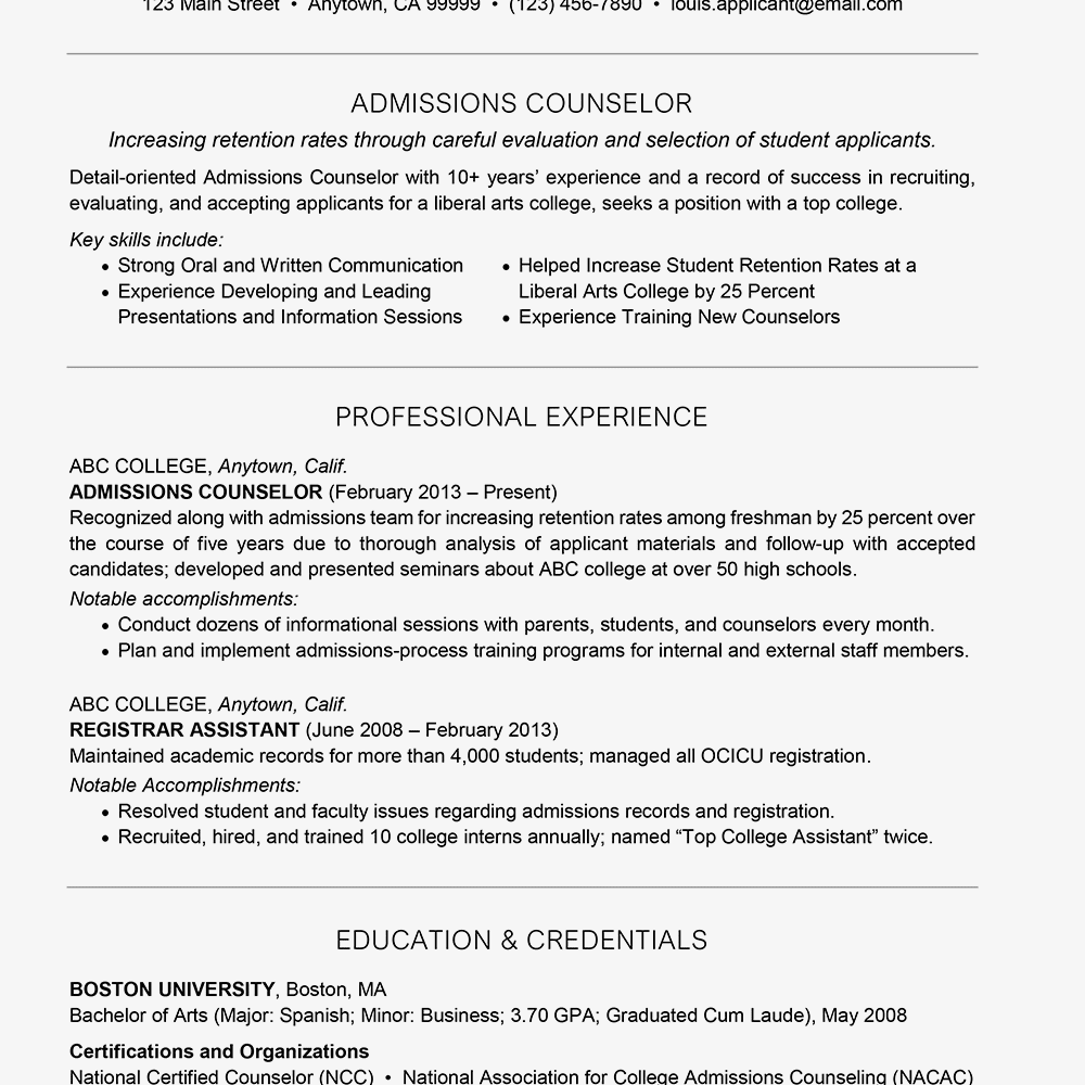 Resume for admissions counselor