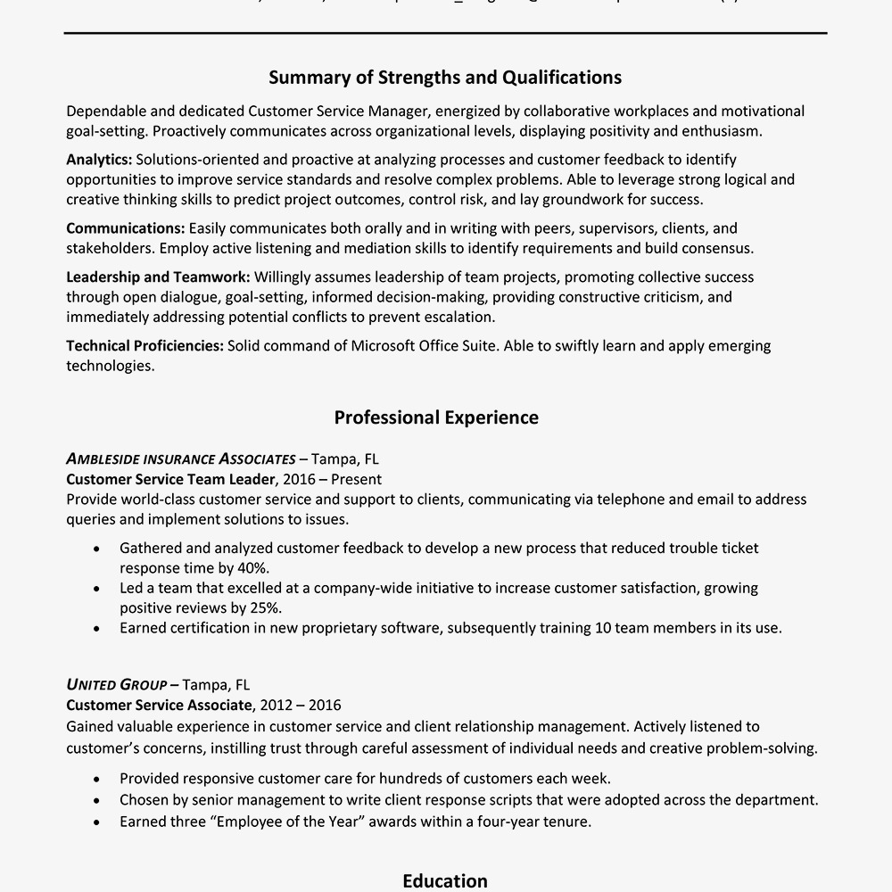 skills and strengths for resume