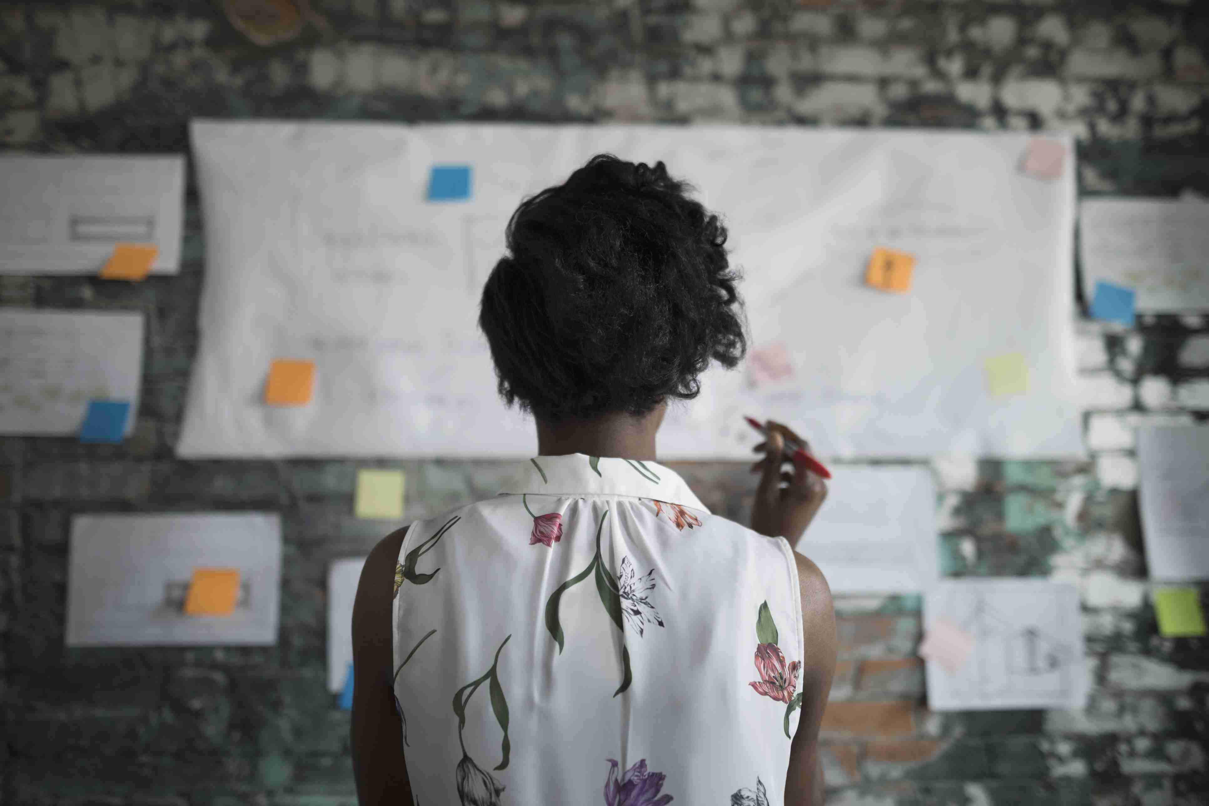 Creative businesswoman reviewing flow chart in office