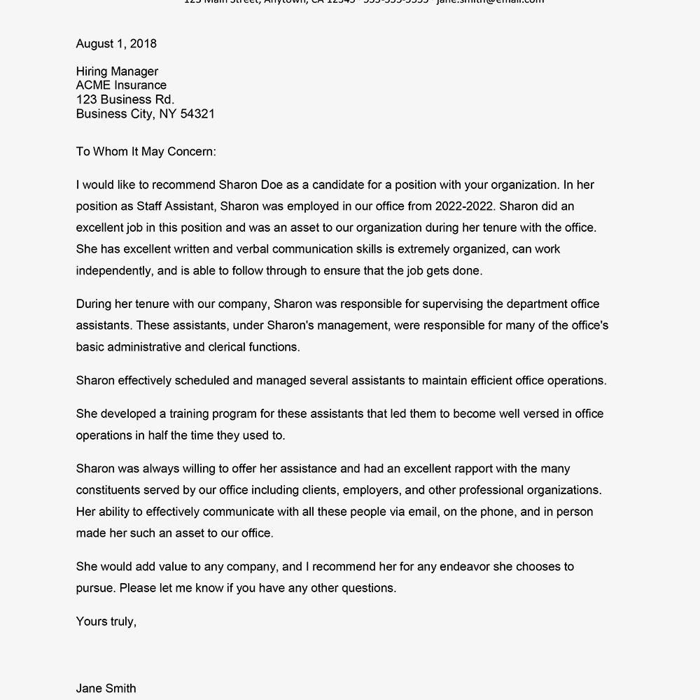 Reference letter for employment example and tips screenshot of a reference letter example expocarfo Choice Image